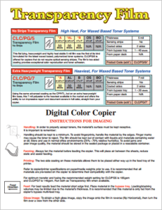 CLC-PG-5 and CLC-PG-7 Transparency Film Instructions